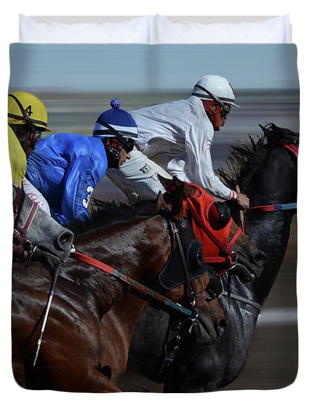 Race Duvet Cover featuring the photograph At The Racetrack 1 by Bob Christopher