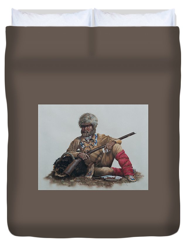 Duvet Cover featuring the painting At The Ready by Pat Sebern