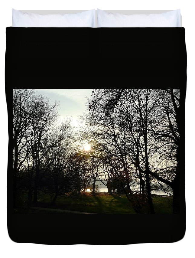 Landscape Duvet Cover featuring the photograph At The Rhine Bank by Valerie Ornstein