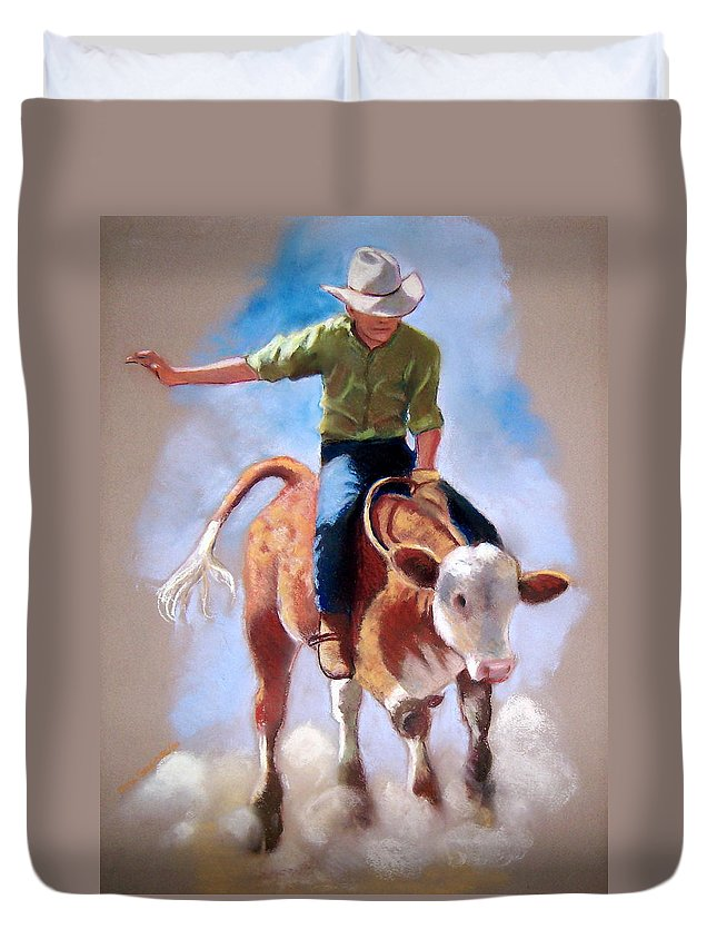 Rodeo Duvet Cover featuring the pastel At The Rodeo by Joyce Geleynse