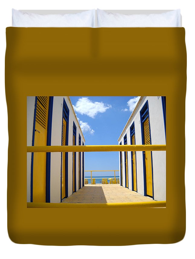 Blue Duvet Cover featuring the photograph At The Seashore 1 by Tom Reynen