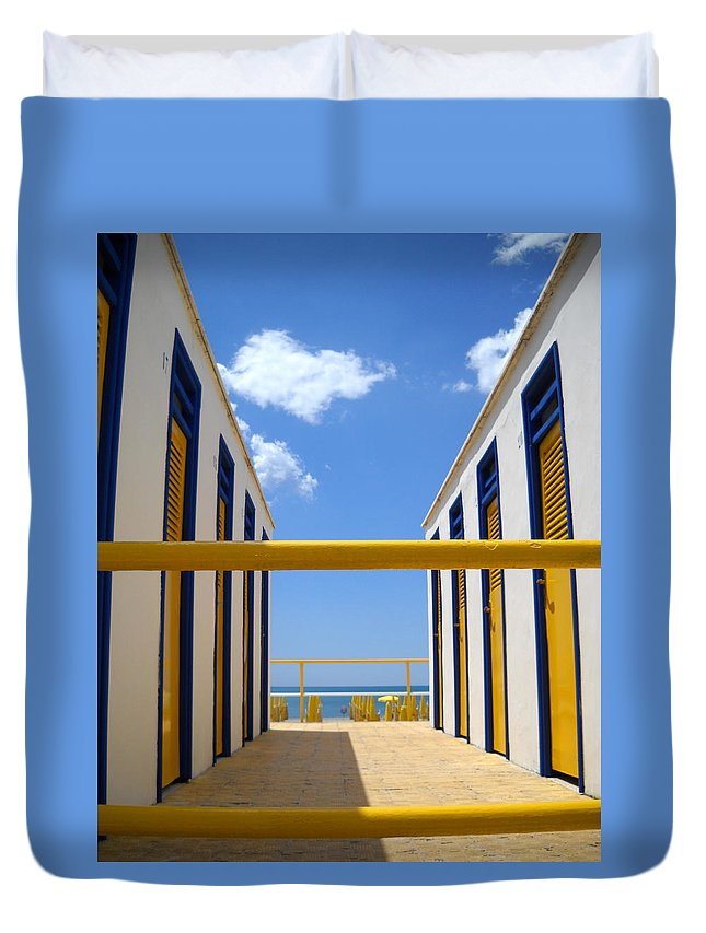 Blue Duvet Cover featuring the photograph At The Seashore 2 by Tom Reynen