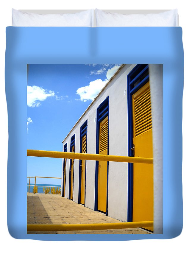 Yellow Duvet Cover featuring the photograph At The Seashore 3 by Tom Reynen