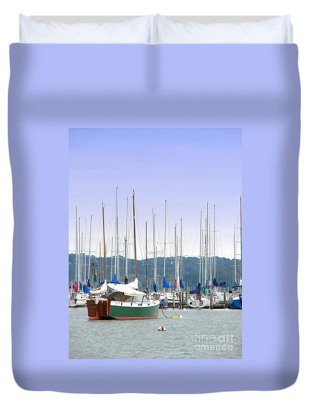 Seascape Duvet Cover featuring the photograph At The Yacht Club by Todd A Blanchard
