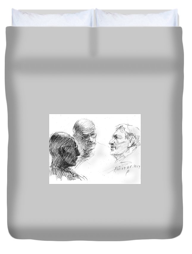 Sketch Duvet Cover featuring the drawing At Tim Hortons 2 by Ylli Haruni