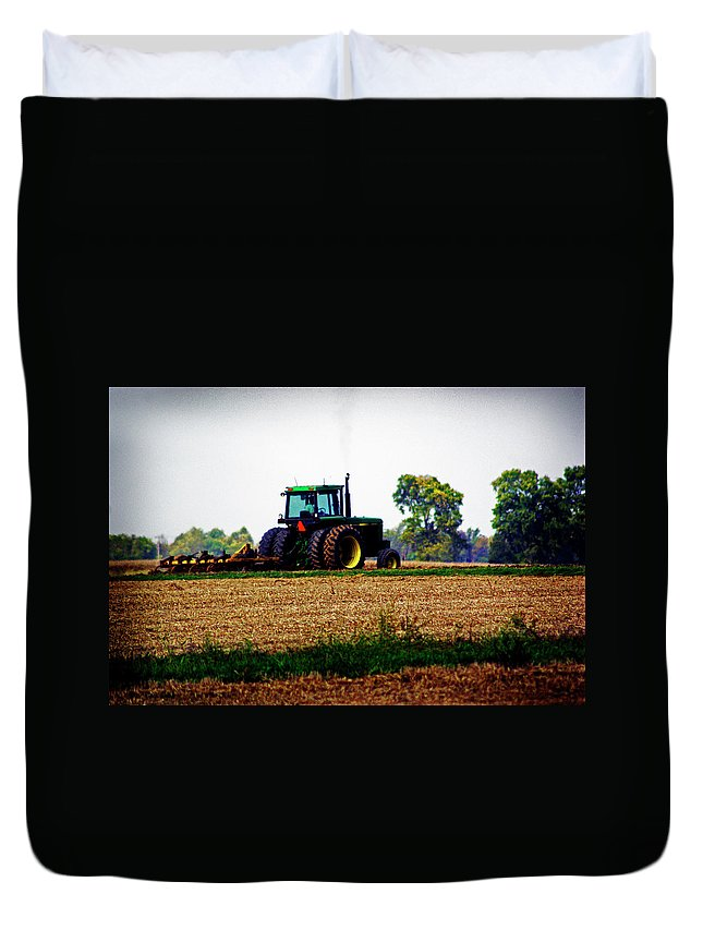 Farm Duvet Cover featuring the photograph At Work by Absorb Productions