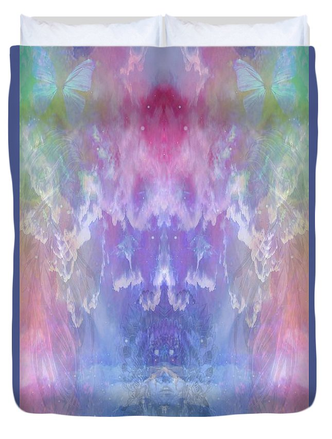 Duvet Cover featuring the digital art Atahensic-sky Goddess by Rich Baker