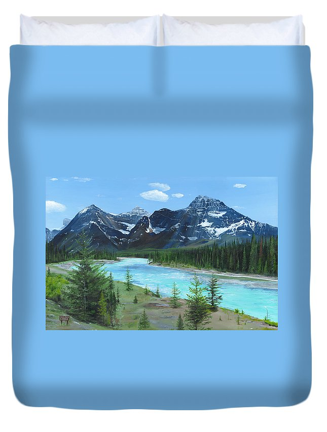 Athabasca River;canadian Rockies;rocky Mountains;jasper Duvet Cover featuring the painting Athabasca River by Glen Frear
