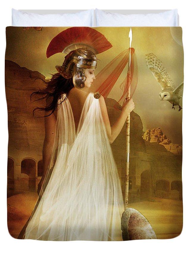 Woman Red Duvet Cover featuring the digital art Athena by Karen Koski