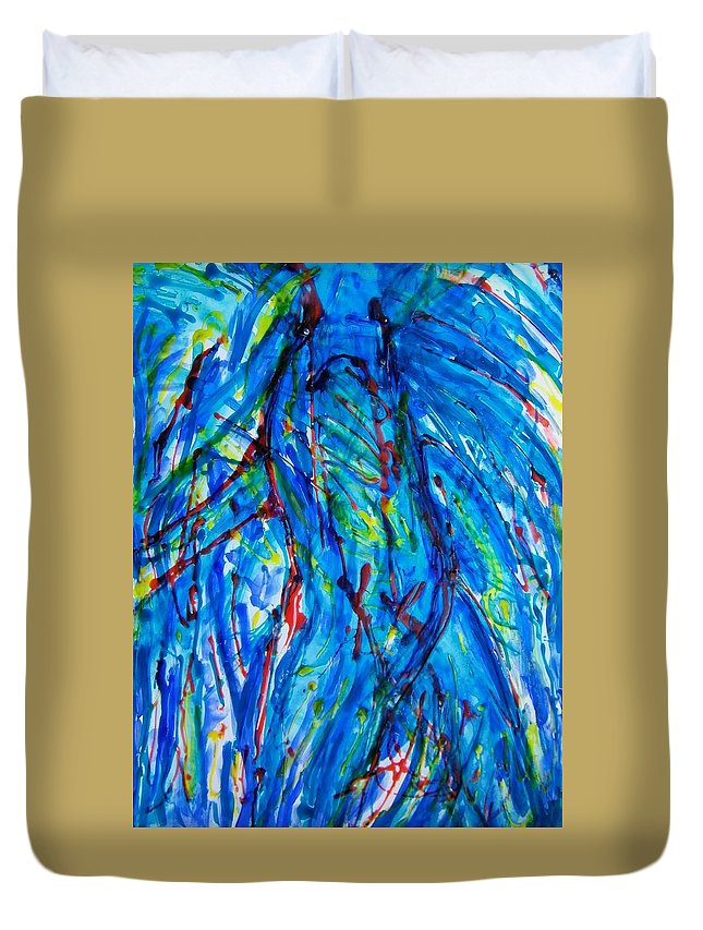 Abstract Duvet Cover featuring the painting Athlete by Judith Redman