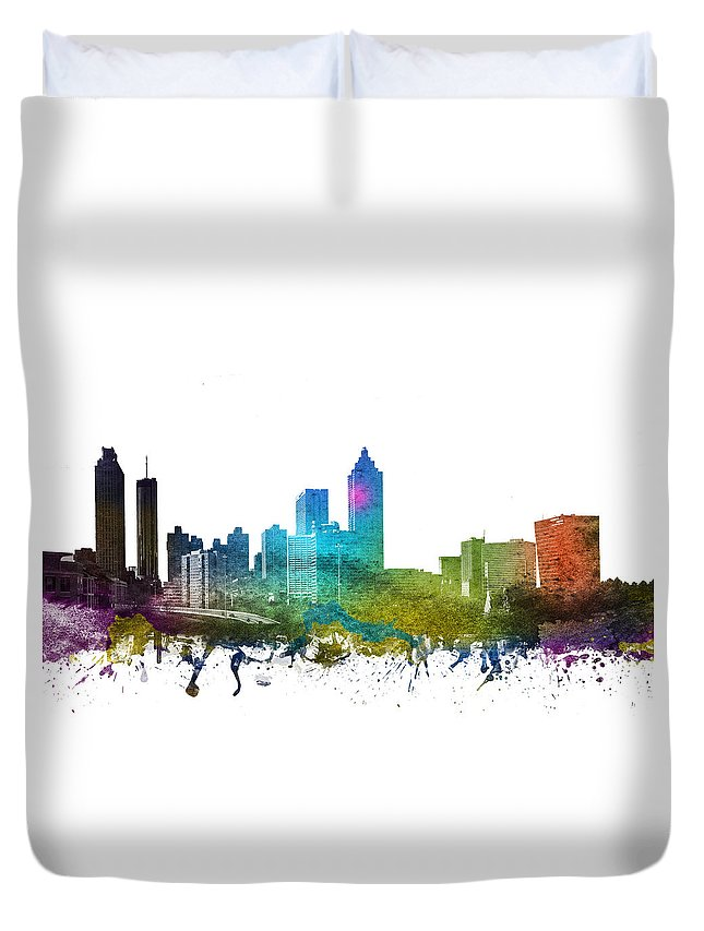 Atlanta Duvet Cover featuring the digital art Atlanta Cityscape 01 by Aged Pixel