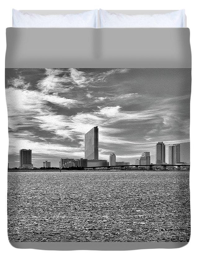Atlantic City Duvet Cover featuring the digital art Atlantic City by Christopher Eng-Wong