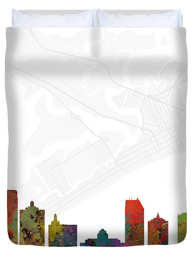 Map Duvet Cover featuring the digital art Atlantic City Cityscape And Streetmap Skyline by Jurq Studio