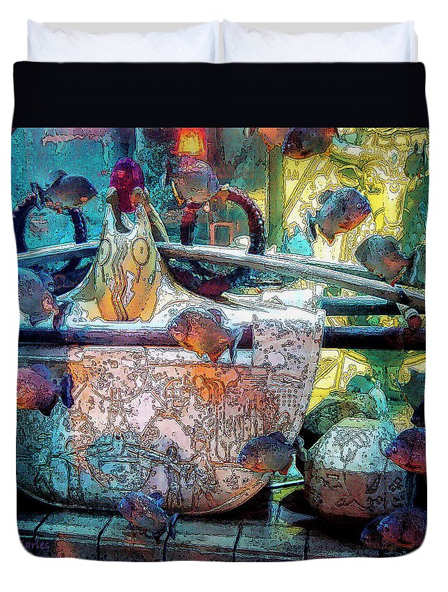 Bahamas Duvet Cover featuring the digital art Atlantis Aquarium In Watercolor by DigiArt Diaries by Vicky B Fuller