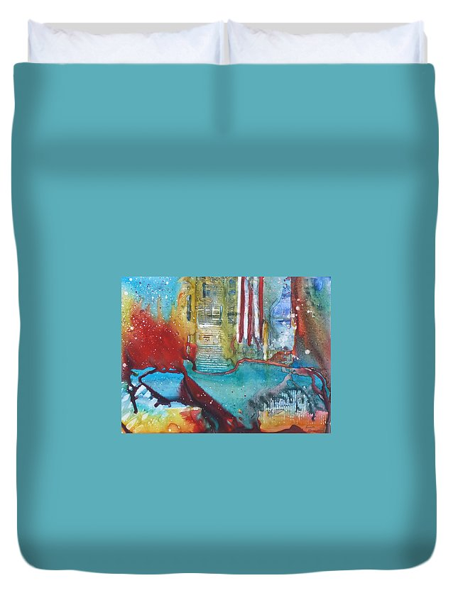 Abstract Duvet Cover featuring the painting Atlantis Crashing Into The Sea by Ruth Kamenev