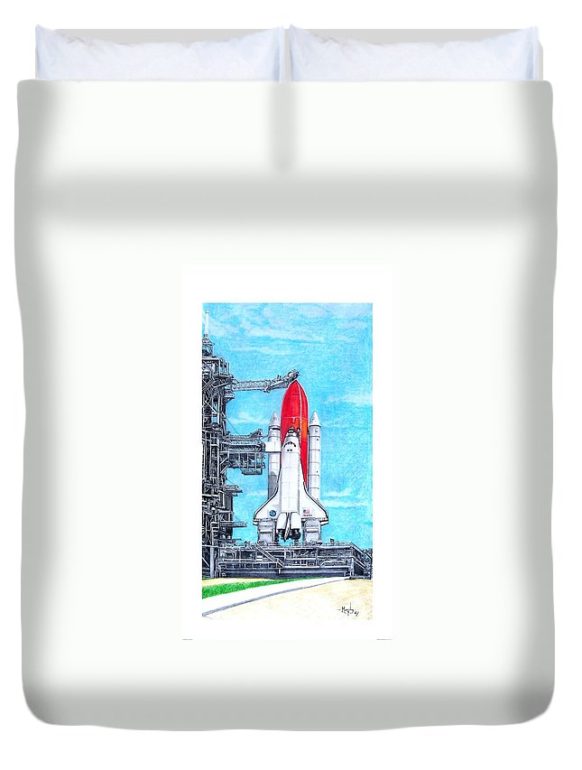 Drawing Duvet Cover featuring the drawing Atlantis by Murphy Elliott