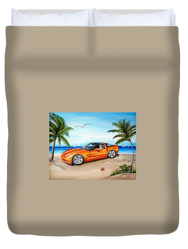 Oil Duvet Cover featuring the painting Atomic Orange by Elizabeth Robinette Tyndall