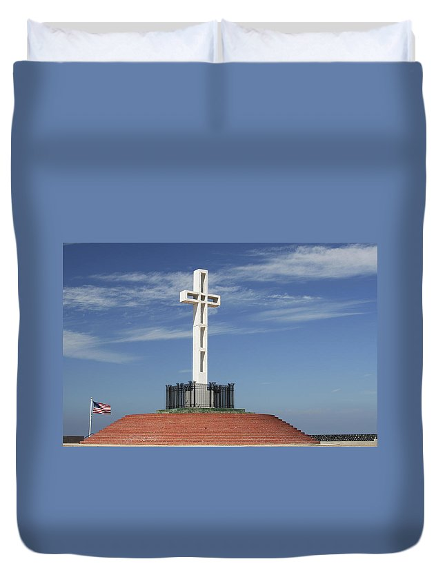 Mt Soledad Duvet Cover featuring the photograph Atop Mt Soledad by Margie Wildblood