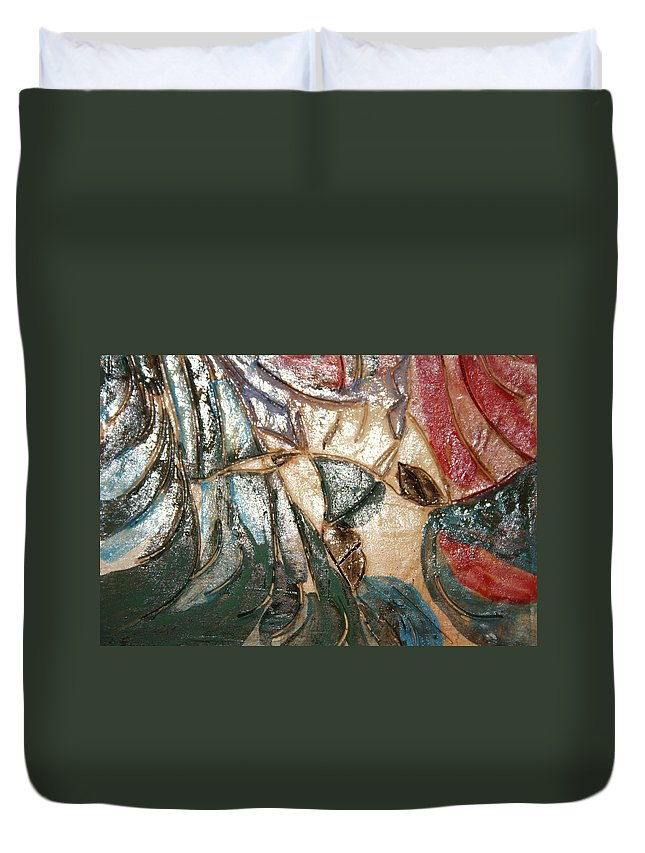 Gloria Ssali Duvet Cover featuring the ceramic art Atrraction - Tile by Gloria Ssali