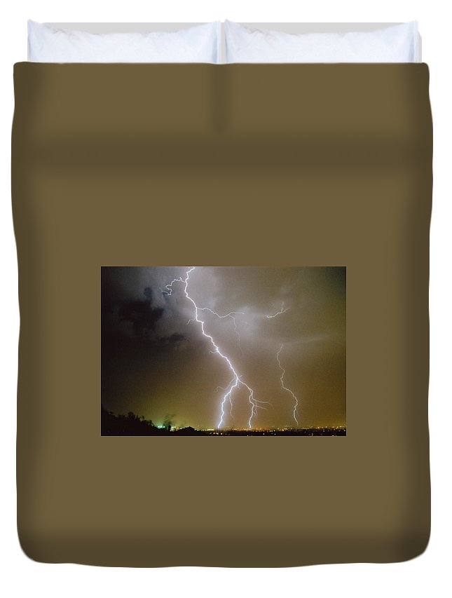 Lightning Duvet Cover featuring the photograph Attack Mode by Cathy Franklin