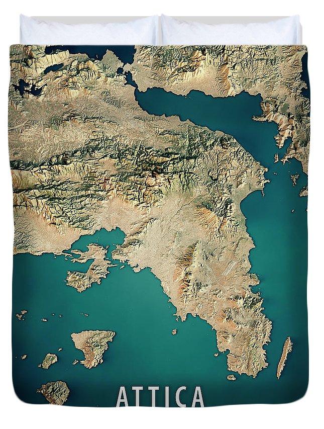 Attica Greece 3d Render Satellite View Topographic Map Duvet Cover
