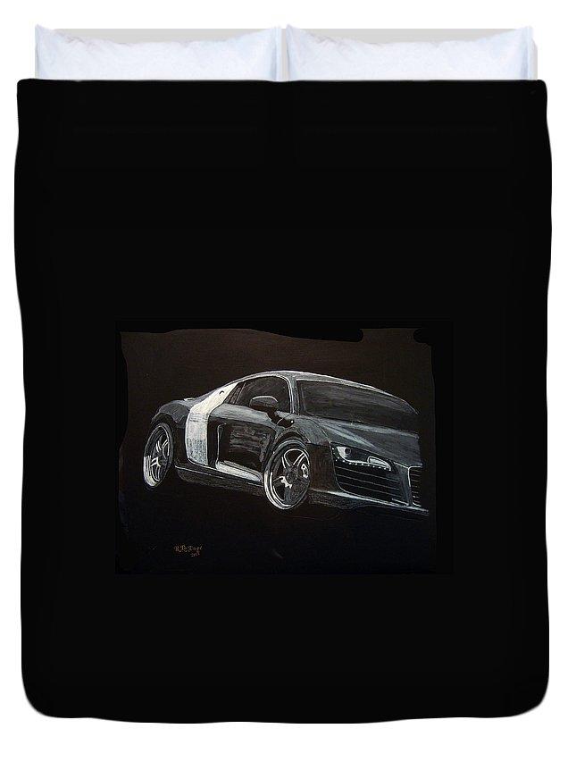Audi Duvet Cover featuring the painting Audi Le Mans by Richard Le Page