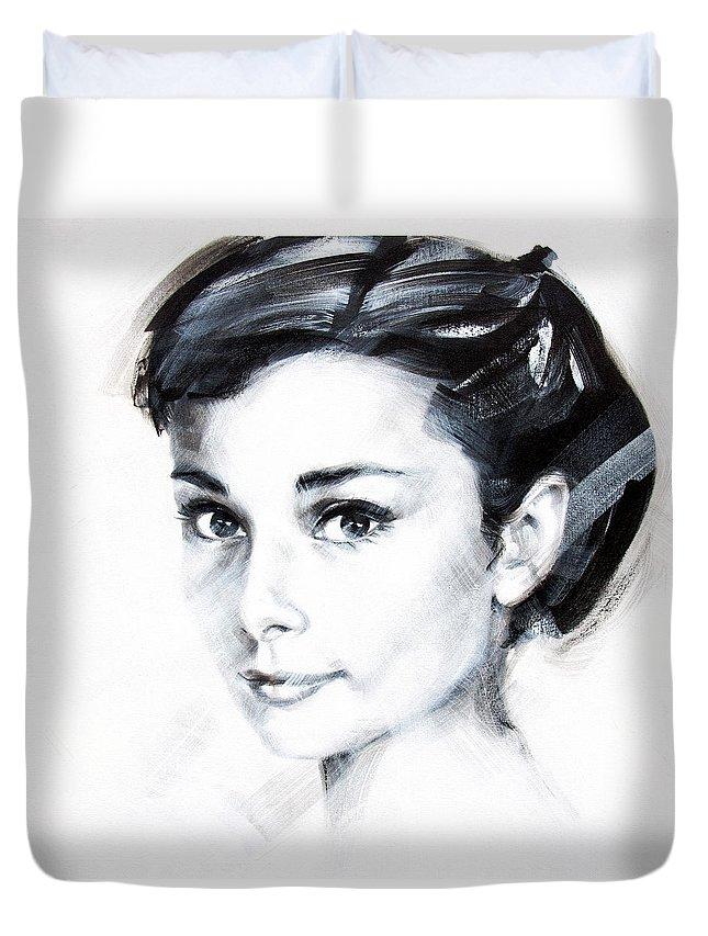 Audrey Duvet Cover featuring the painting Audrey 1 by Jean Pierre Rousselet