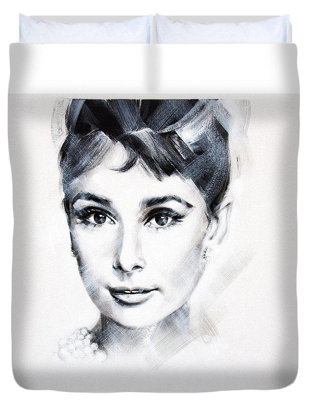 Audrey Duvet Cover featuring the painting Audrey 3 by Jean Pierre Rousselet