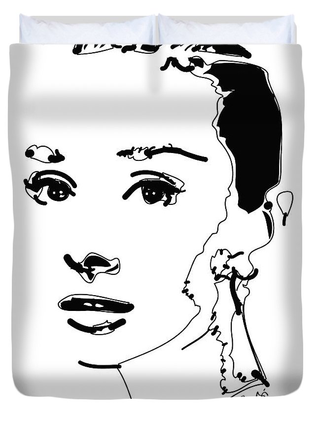 Actress Duvet Cover featuring the digital art Audrey Hepburn by Rabi Khan