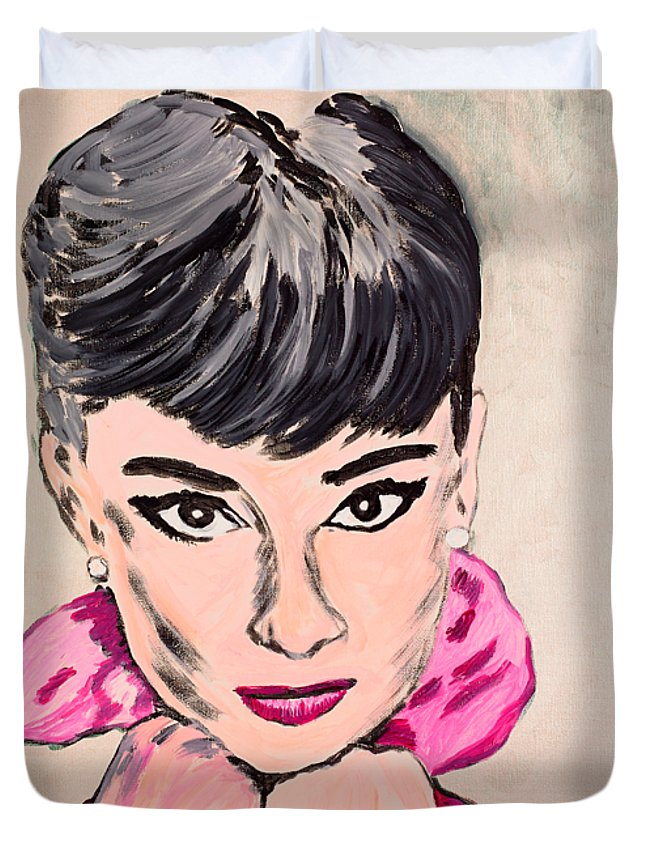 Portrait Duvet Cover featuring the painting Audrey Hepburn by Valerie Ornstein
