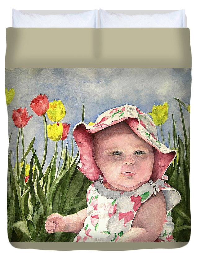 Kids Duvet Cover featuring the painting Audrey by Sam Sidders