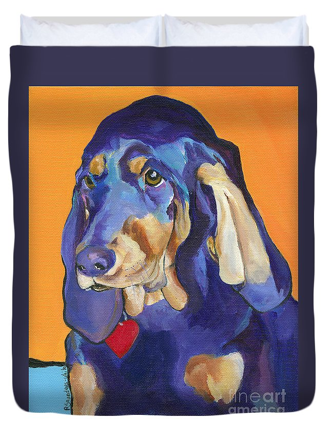 Bloodhound Duvet Cover featuring the painting Augie by Pat Saunders-White