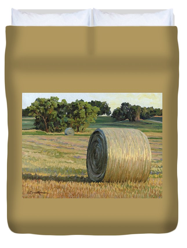 Landscape Duvet Cover featuring the painting August Bales by Bruce Morrison