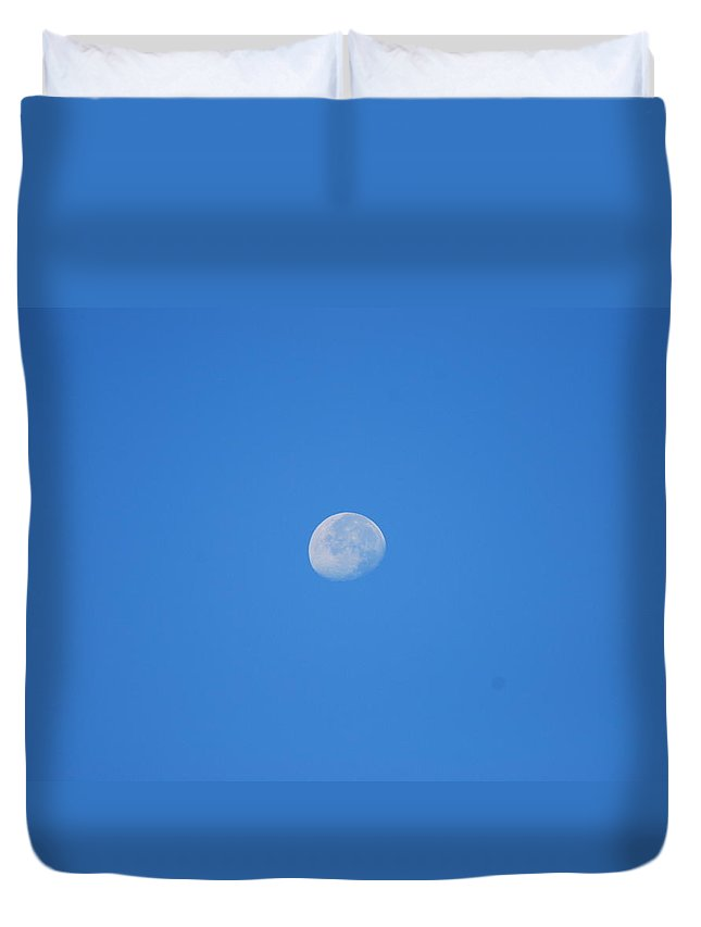 August Duvet Cover featuring the photograph August Morning Moon by StudioBoldt  Photography