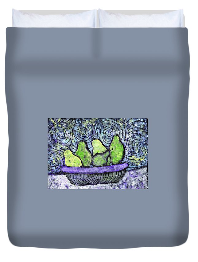 Food Duvet Cover featuring the painting August Pears by Wayne Potrafka