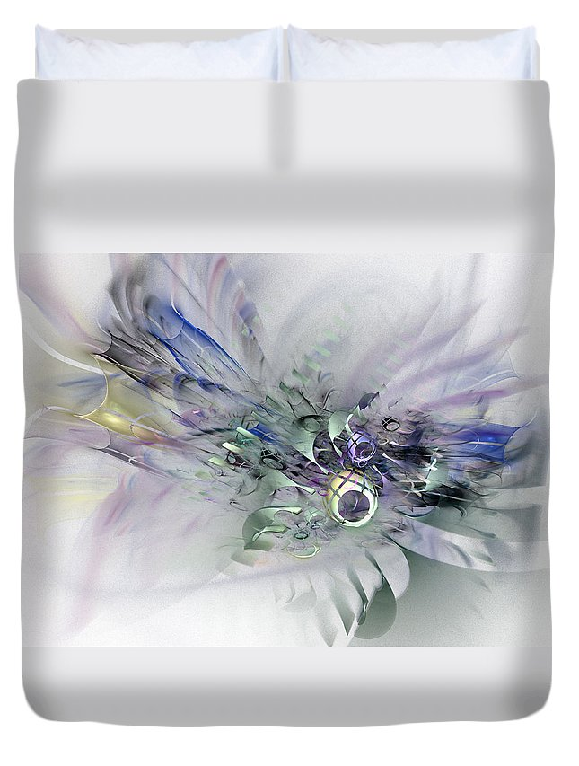 Contemporary Abstract Art Duvet Cover featuring the digital art August Silk - Fractal Art by NirvanaBlues