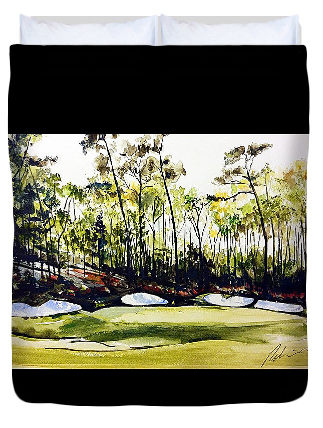 Augusta National 13th Duvet Cover featuring the painting Augusta 2 by Mark Robinson