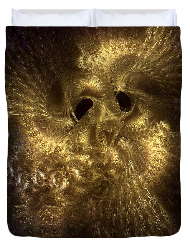 Abstract Duvet Cover featuring the digital art Aureate-4 by Casey Kotas