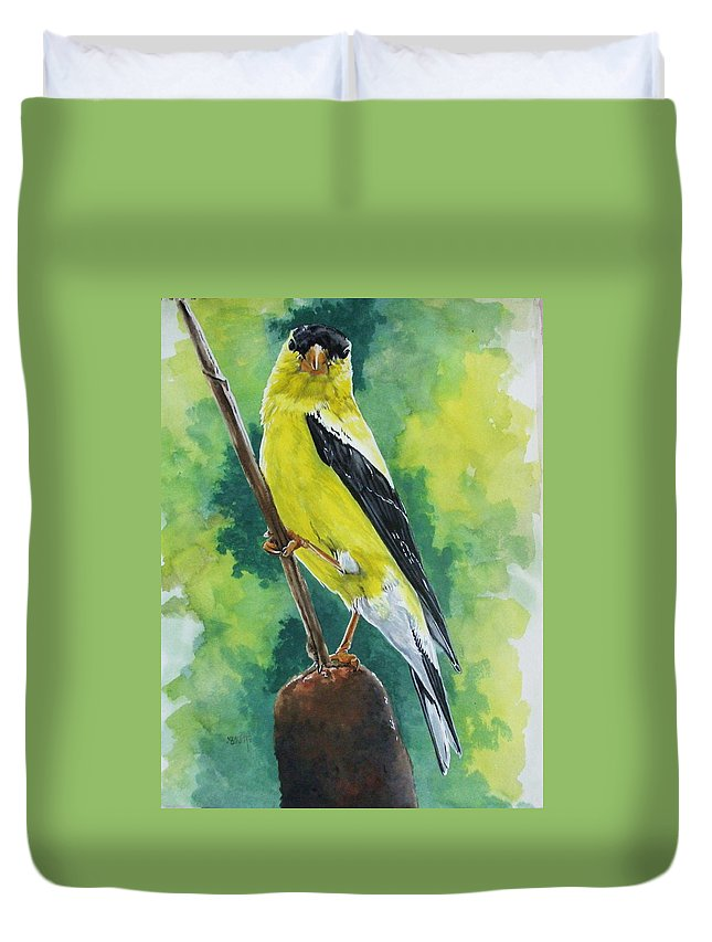 Common Bird Duvet Cover featuring the painting Aureate by Barbara Keith