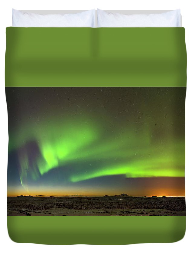 Iceland Duvet Cover featuring the photograph Aurora Above Keflavik In Iceland. by Andy Astbury