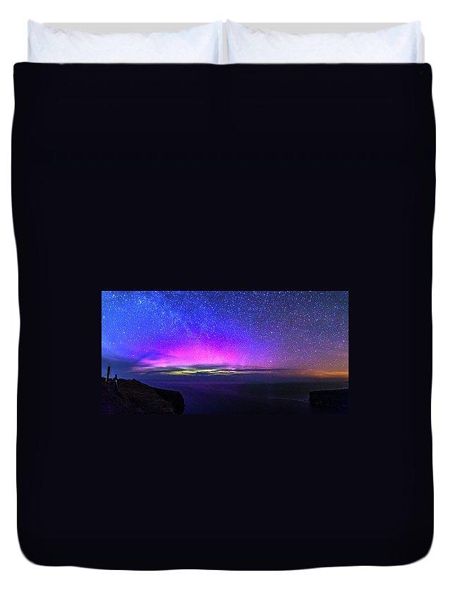 Aurora Duvet Cover featuring the photograph Aurora At Ceide Fields by Michael Kinsella