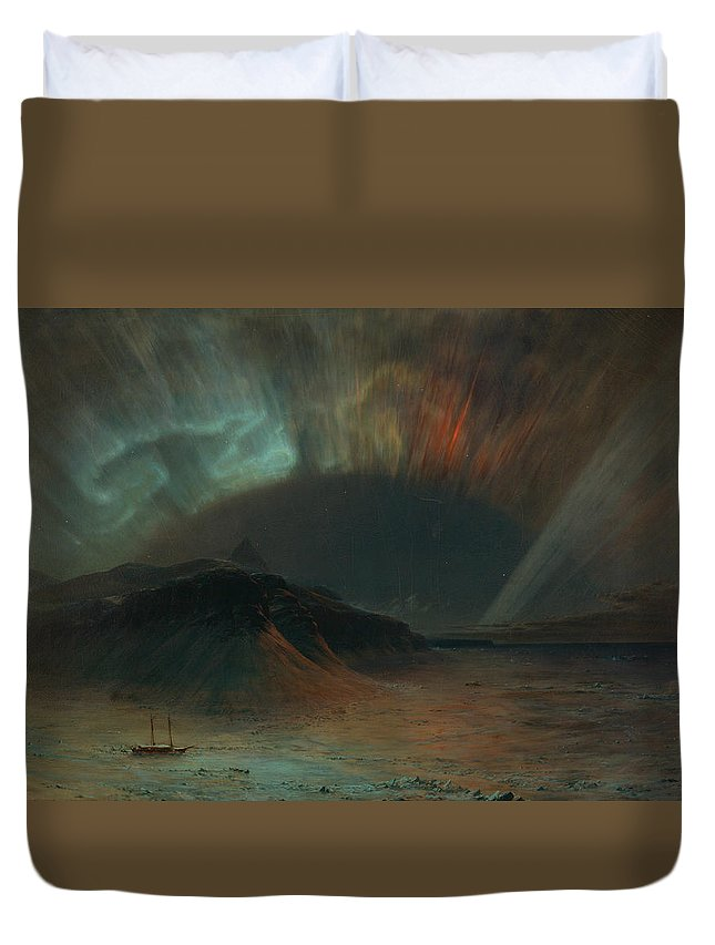 Frederic Edwin Church Duvet Cover featuring the painting Aurora Borealis by Frederic Edwin Church