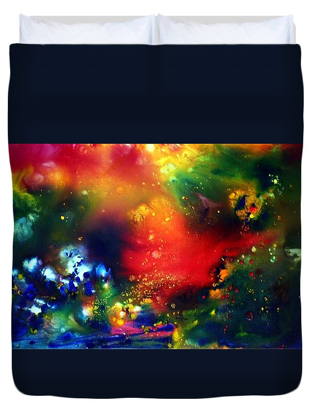 Abstract Duvet Cover featuring the painting Aurora Borealis by Luiza Vizoli