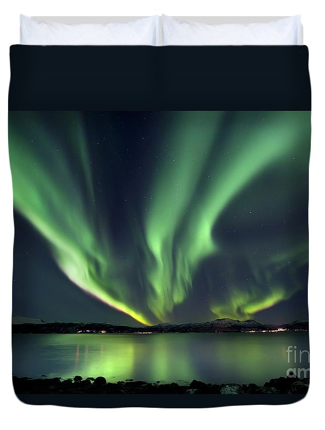 Aurora Borealis Duvet Cover featuring the photograph Aurora Borealis Over Tjeldsundet by Arild Heitmann