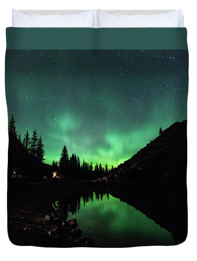 Moraine Duvet Cover featuring the photograph Aurora On Moraine Lake by Alex Lapidus