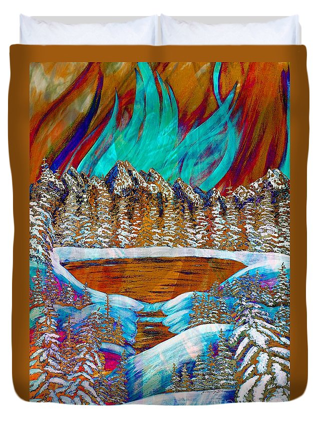 Auroras Reflections Duvet Cover featuring the painting Aurora's Reflections by Barbara Griffin