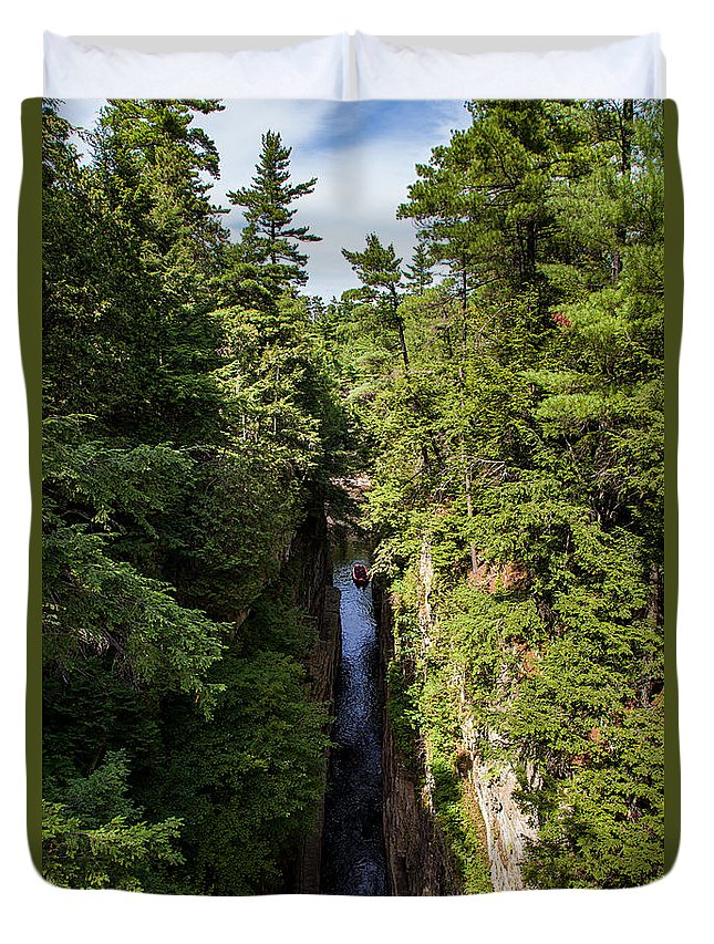 Travel Photography Duvet Cover featuring the photograph Ausable Chasm by Alex Kotlik