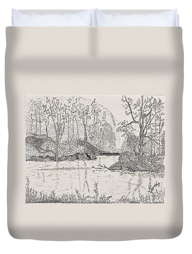 River Duvet Cover featuring the drawing Ausable River At Rock Glen by Peggy King