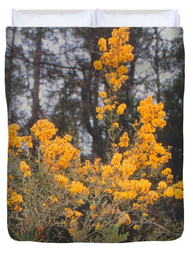 Flower Duvet Cover featuring the photograph Aussie Gold by Ron Swonger