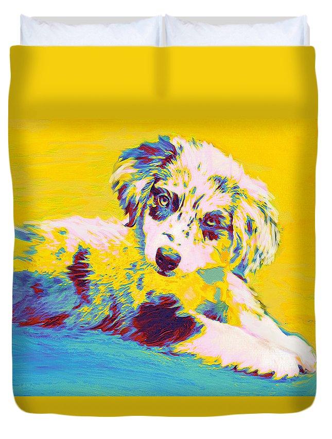 Aussie Duvet Cover featuring the digital art Aussie Puppy-yellow by Jane Schnetlage